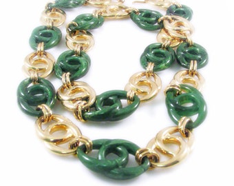 Lovely Faux Jade and Gold Tone Infinity Link Necklace