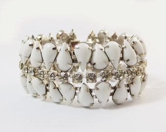 Kramer of New York Rhinestone Milk Glass Bracelet
