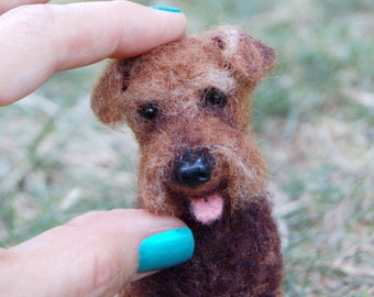 Welsh Terrier Felted Dog Portrait