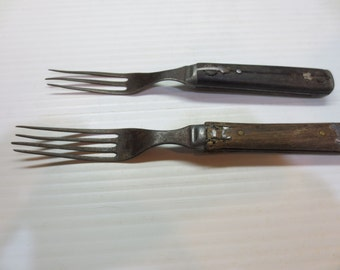 Two Wooden Handled Civil War Forks Circa 1860's
