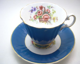 Antique  Royal Grafton Turquoise Tea Cup And Saucer, Basket of Flowers tea cup , English tea cup and saucer set.