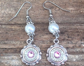 Pearl Bullet Flower Filigree Bezel Dangle Earrings on Hypoallergenic Stainless Steel Ear Wires