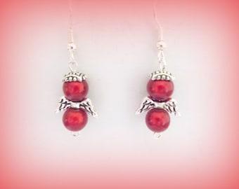 guardian angels - red angels - red earrings - angel earrings