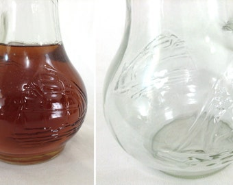 Vintage Glass Milk Pitcher with Boat Detail
