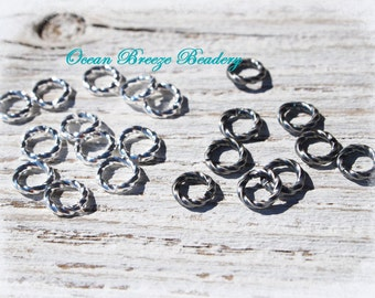 6mm Twisted Jump Rings  . 144 For You . Silver Plated or Antiqued Silver