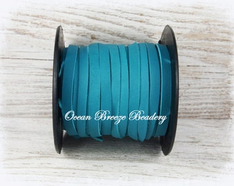 5mm Flat Leather Lace . Turquoise . Super Soft Deertan Lace . 3 feet or 6 feet ~Choose your length