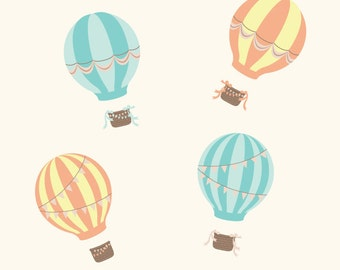 Hot Air Balloon Wall Decals - Vintage Balloon Fabric Wall Decals