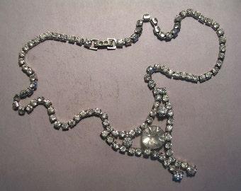 "Rhinestone Pendant Necklace 14"" Chain 1960's"