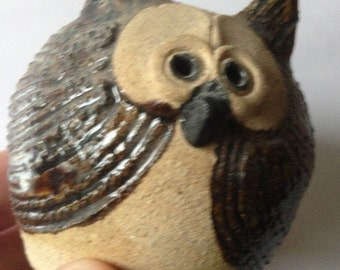 VINTAGE Retro pottery owl figurine candle holder perfect
