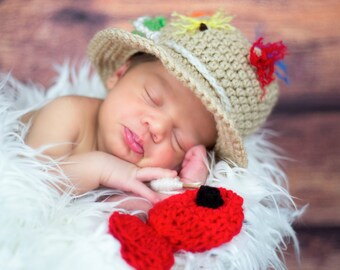 Custom made FLY FISHING Bucket Hat CROCHET Fisherman Hat with 1 Fish Boy or Girl, SiZES Preemie Newborn 0-3month,3-6 month,6-12 month,1-3 yr