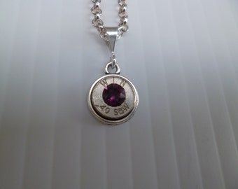 40 caliber  smith and wesson bullet nickel casing necklace with amethyst swarovski crystal