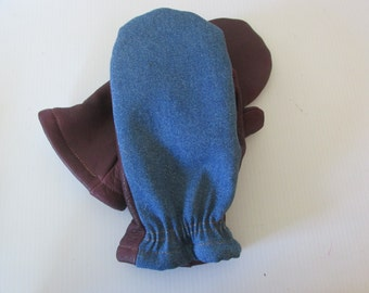 Men's Ox blood red deerskin leather palm and blue denim backed mittens - made in the USA