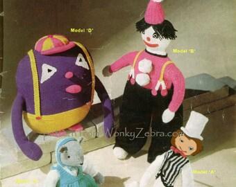 Clown Mouse Gonk Vintage Toys Knit Pattern PDF 525 from WonkyZebra