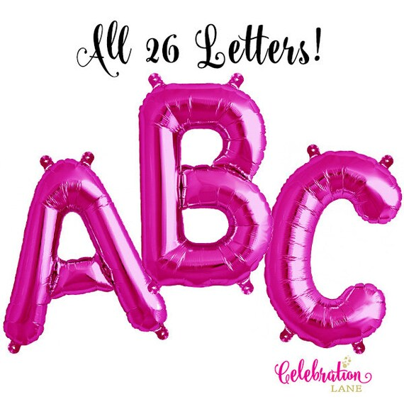 16 hot pink mylar a z letter balloons and numbers 0 9 With hot pink letter balloons