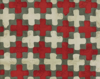 Moda Simple Marks Red White Grey Gray Plus signs Malka Dubrawsky Fabric BTY