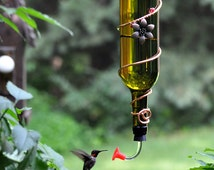 """Wine Bottle bird Feeder ~ """"The Tavern""""  - Blue or green hummingbird feeder with 2 feeder adapters - one with ball bearing!"""
