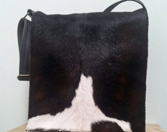 Cowhide Leather Messenger Bag, Brown and White New Zealand cowhide, small travel bag, handmade.