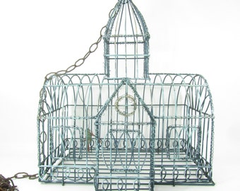 Vintage birdcage,shabby chic,metal birdcage,wedding decor, cottage decor, wire birdcage,antique,rust,Aqua,gold,card holder,
