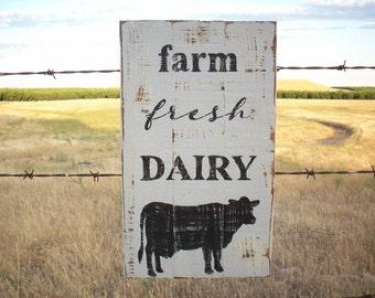 Farmhouse Decor / Farm Fresh Dairy / Cow Decor / Rustic Farmhouse Sign / Country Home Decor / Cow Art / Country Kitchen Wall / Dairy Sign