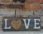 LOVE rustic gray/white shingle sign