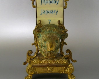 French Ormolu Perpetual Desk Calendar c1900 Antique Bull Bison Head