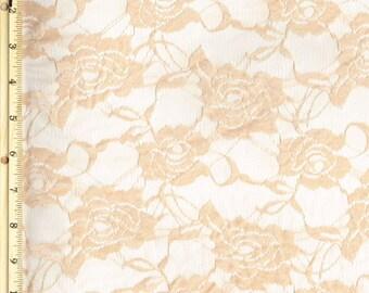 Stretch Lace Fabric by the Yard, Peach Wedding Lace Fabric, Bridal Lace Fabric  1 Yard style 216