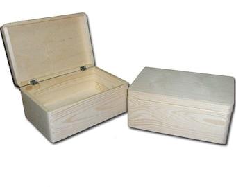 Unpainted Natural Wooden Chest with Lid - Storage Chest Toy Box  DIY Box Plain Wooden Crate 40cm(L)x 30cm (W)x 24cm (H)