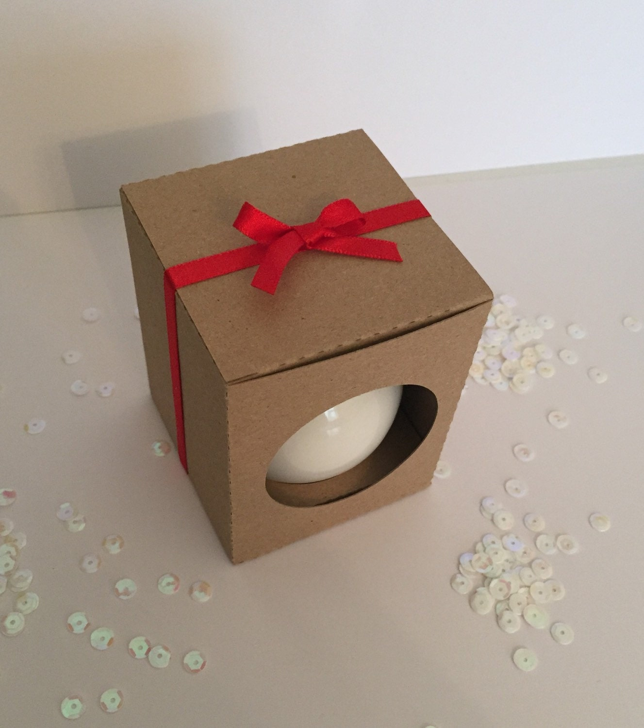 Christmas ornament cm bauble gift box in kraft card with