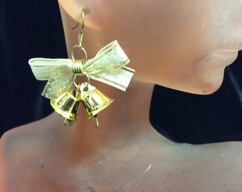 Vintage White Bowed Jingle Bell Dangling Christmas Earrings