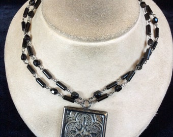 Vintage Double Stranded Black Glass Beaded Etched Pendant Necklace