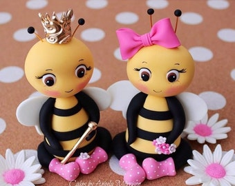 Set Of Fondant Bee Cake Topper