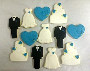 Wedding Favor Cookies, Esty Wedding Cookies, Bride Dress Cookies, Groom Tux Cookies, Wedding Cake Cookies, Bridal Shower Cookie Favors