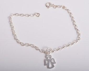 Sterling silver chain guardian angel bracelet sterling silver 925 bracelet