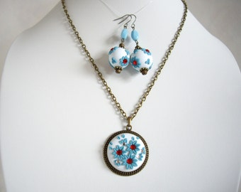 Polymer clay nacklace and earrings, Turquoise polymer clay necklace and earrings, Floral nacklace and earrings, Polymer clay set