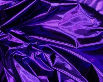 "Metallic Foil Spandex Fabric in Purple  Stretch Lycra 58""/60"" Wide and Sold By The Yard 6029"