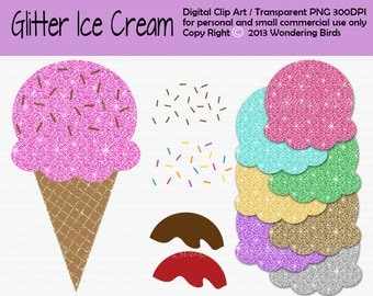 Ice Cream Clipart For Personal and Commercial Use, glitter Clip Art, Instant Download, glitter ice cream clip art, clipart - icecream