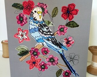 Betsie Budgie-Greeting Card- handfinished
