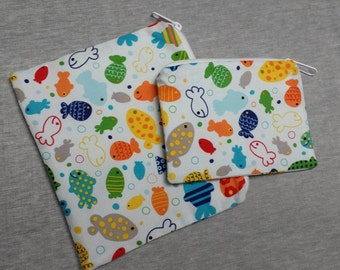 Reusable Sandwich Bag Set,Fish Snack Bags,Lunch Baggies Fish, Small Bags,Reuse Snack Bags,Nylon Lining,Zipper Closure, Eco Friendly Bags.