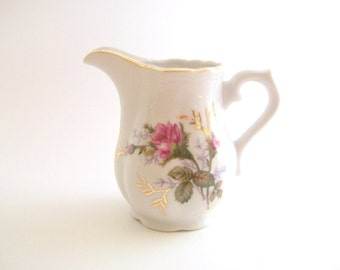 Vintage Creamer, Floral Creamer, White and Pink Creamer, Rose Print Creamer, Royal Rose Creamer, Royal Rose China White Creamer Pink & White