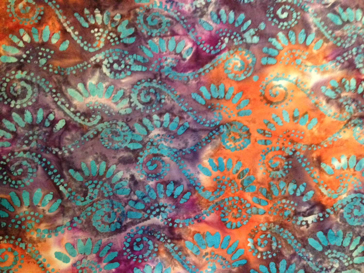 purple blue orange and turquoise batik fabric by the yard 1547 from bluesheepboutique on etsy. Black Bedroom Furniture Sets. Home Design Ideas