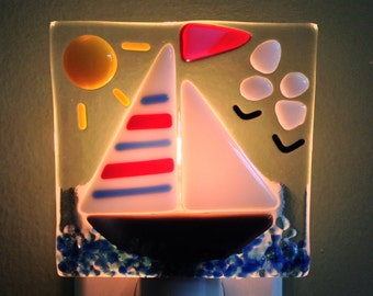 Fused Glass Sailboat Night Light