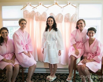 Bridesmaid Gift Bridesmaids Robes Monogram Robe Bridesmaid Robes Monogram Waffle Robe Bridal Robe Kimono Robe Personalized Bridesmaids Gift