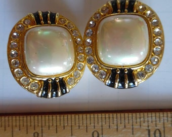 Vintage 80's Faux Pearl Clip On Earrings with Rhinestones and Enamel