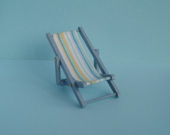 Blue Folding Deckchair - 1:12 or 1/12 Scale Dollhouse Miniature, Pastel Blue and Yellow Striped Seat for Beach Kiosk, Shop or Garden