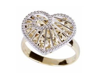 14K Two-Tone Diamond-Cut Heart Ring, Heart Ring, Diamond-Cut Ring, Gold Ring, Fancy Ring, Fancy Jewelry, Heart Ring, Heart Jewelry, Heart