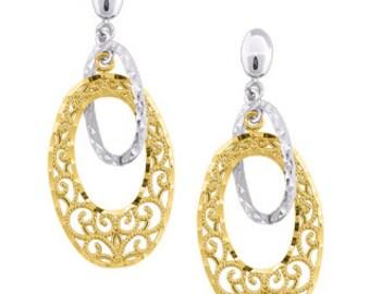 14k Two Tone dangle earrings. Filigree two tone Earrings.