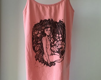 Flora. Coral hand printed tank top