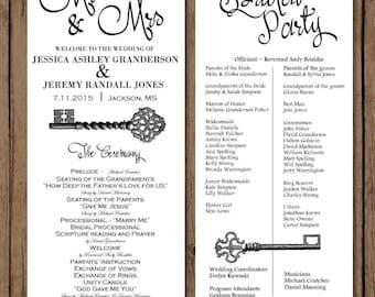 Wedding Program Font Color Your Choice Wedding Program Antique Key Theme Bridal Party Customize Program Front & Back
