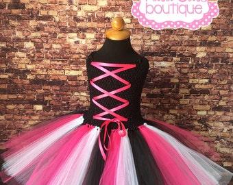 Rock star tutu corset dress. Rocker tutu. Pink black and white tutu. Rock star party. Birthday tutu. Corset dress. Halloween