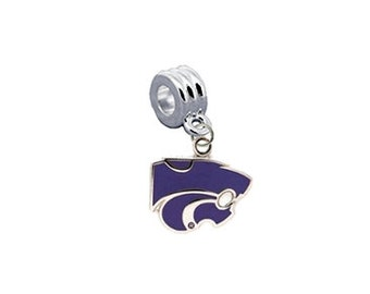 Kansas State Wildcats European Charm for Bracelet, Necklace & DIY Jewelry